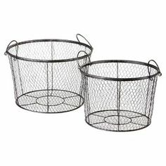 """Display leafy houseplants or stow dishtowels in these wire baskets, showcasing 2 handles for portability.  Product: Small and large basketConstruction Material: MetalColor: Antique bronzeDimensions: 13"""" H x 19.75"""" Diameter (large)"""