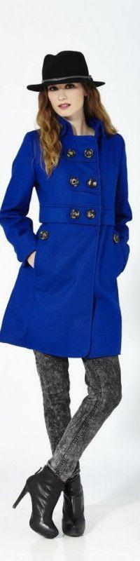Abrigo Azul largo de lana/algodón con cierra central de botones