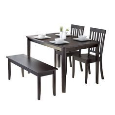 CorLiving DRG 695 Z6 Atwood 4 Piece Dining Set With Cappuccino Stained  Dining Bench And Set Of Chairs By CorLiving