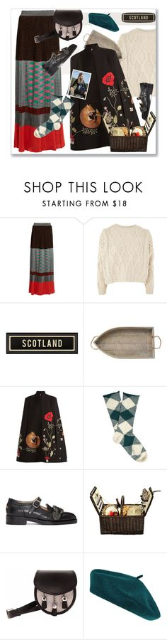 """Scottish Highlands"" by nantucketteabook ❤ liked on Polyvore featuring Missoni, Topshop, Mud Pie, Vilshenko, Burberry, Gucci, Picnic at Ascot, Accessorize, romantic and scotland"