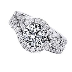18K White Gold Finish 2.92Ct Round Diamond Halo Ring by JewelryHub on Opensky