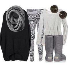 Outfit für einen Winterspaziergang