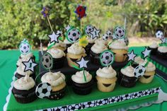 Soccer Allergen Free Cupcakes Gluten free, dairy free, egg free, soy free, nut free, HFCS free Pamela's Chocolate Cake Mix with allergen free frosting (recipe on this board) #pamelaschocolatecakemix #soccerbirthday #foodallergybirthday