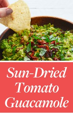 Presenting sun-dried tomato guacamole, the most sophisticated guac we've encountered—and just the excuse you need to invite your friends over for movie night. Just don't forget the bottle of white vino.#sundriedtomatoes #guac #guacamole #easyguacamole #guacamolerecipes #partyrecipes #partydip #appetizers