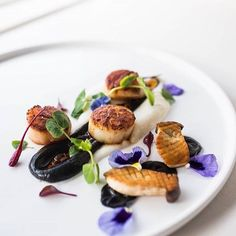 Scallops, squid ink, cauliflower puree, baby king mushrooms, and XO sauce by @zeboy #TheArtOfPlating