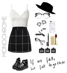 """""""monochrome"""" by cakeandicecream3003 ❤ liked on Polyvore featuring River Island, Myia Bonner, Casetify, Bobbi Brown Cosmetics, LashFood, Lipstick Queen and monochrome"""
