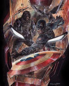 Iron Man Vs. Falcon, the Winter Soldier and Captain America