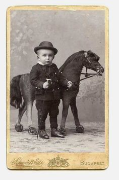 Tiny Boy with Stick & Big Toy Horse CDV Photo by Schmidt Ede, Budapest, Hungary