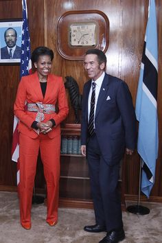 During a meeting with Botswana's President Seretse Khama Ian Khama in Gaborone, Botswana in June, Mrs. Obama wore a Jean Paul Gaultier pantsuit with a belt from Tory Burch.