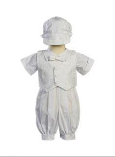 6bbe6c1d9b97d White Poly Cotton Christening Baptism Romper Set with Vest and Hat Size S  36 Month -. Baby Boy ...