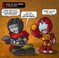 Rodimus here beat out Jetfire and Brawn to headline the next strip. Lil formers - Rodimus Prime Transformers Funny, G 1, Optimus Prime, Tmnt, Funny Comics, Character Art, Chibi, Nerd, Geek Stuff