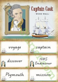 Teaching Resource: A vocabulary word wall to display and use in the classroom when learning about the explorations of Captain James Cook.