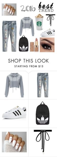 """""""2016"""" by kinnfors on Polyvore featuring adidas, Topshop, Joomi Lim and tarte"""