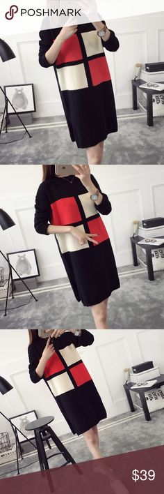 """Almost gone 🎉Color block mid-long sweater Material: acrylic and cotton blended Measurement: length: 31.5"""" bust: 37"""" around, sleeve length-18"""" shoulder to shoulder- 19-20"""" Sweaters"""