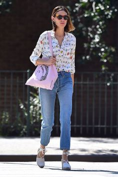 Cutoffs aren't the only way to wear denim in the summer. If you decide to brave the heat in jeans, try a less fitted, cropped-ankle style. Then, keep the rest of your pieces light and breezy: Chung opts for an airy blouse up top plus lace-up espadrilles on the footwear front. #refinery29 http://www.refinery29.com/2016/07/117636/alexa-chung-style-best-outfits#slide-4