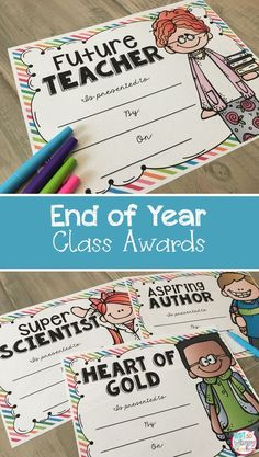 These 70 end of year awards are perfect for a class award ceremony! Every award comes in a boy and a girl version. I also included black line versions to save ink!