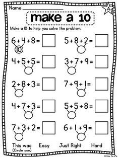 First Grade Math Unit 12 Adding 3 Numbers Adding 3 numbers worksheets and centers - great for practicing 3 addends First Grade Math Worksheets, Second Grade Math, Kindergarten Worksheets, Eureka Math, Math Addition, Addition Worksheets, Homeschool Math, Math Facts, Math For Kids