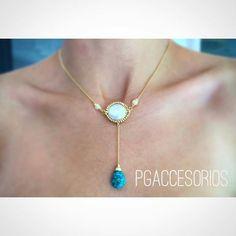 PG #pgaccesorios #cadenita #turquesa #perla #chapadeoro #goldplated #hechoamano #handmadejewerly #joyeria #losmochis #mexico #diseñomexicano #mexicocreativo #necklace #fashion