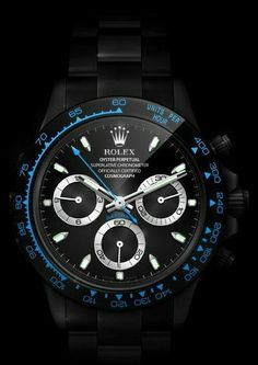 Black n Blue Modern Watches, Fine Watches, Luxury Watches For Men, Cool Watches, Rolex Watches, Fossil, Black Rolex, Brand Name Watches, Rings Cool