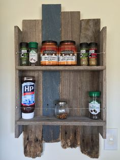 Rustic spice rack made from fence palings