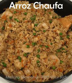 Arroz Chaufa - Peruvian Fried Rice with Chicken and Shrimp (Chicken And Rice Recipes) Peruvian Dishes, Peruvian Cuisine, Peruvian Recipes, Peruvian Fried Rice Recipe, Couscous, Cooking Recipes, Healthy Recipes, Cuban Recipes, Rice Recipes