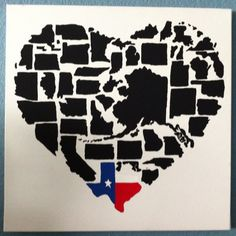 Deep in the heart of Texas. Heart shaped map with a colorful Texas shaped flag
