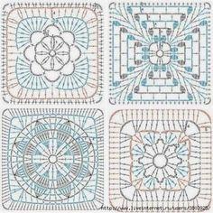 Patterns And Motifs: Crocheted Motif No. Plaid Crochet, Crochet Poncho Patterns, Crochet Motifs, Granny Square Crochet Pattern, Crochet Diagram, Crochet Chart, Crochet Afghans, Crochet Stitches, Mandala Au Crochet