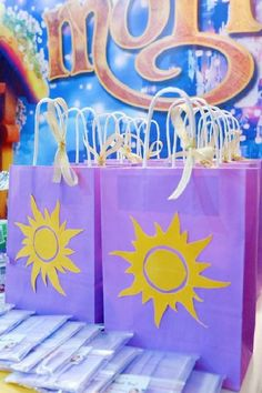Take a look at this amazing Rapunzel birthday party! The party favor bags are so pretty!! See more party ideas and share yours at CatchMyParty.com #catchmyparty #partyideas #rapunzel #princess #disneyprincess #rapunzelparty #girlbirthdayparty Rapunzel Birthday Party, Tangled Party, Princess Birthday, Princess Party, Girl Birthday, Birthday Parties, Boy Party Favors, Party Favor Bags, Baby Shower Favors