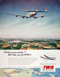 JAMAICA Montego Bay TWA Constellation Plane Travel Poster Pin Up Art Print 127
