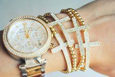 Gold Pave Crystal Sideways Cross Bracelet by shopmoderngrace, $12.00