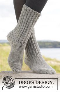 "Comfort Rib - Crochet DROPS socks in ""Alaska"". - Free pattern by DROPS Design"