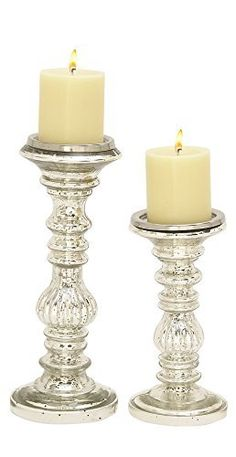 Whether you display the candlesticks in the DecMode Metal Candle Holder - Set of 2 side by side or staggered throughout your living space,. Glass Candlesticks, Glass Votive, Ceramic Lantern, Black White, Metal Candle Holders, Metal Lanterns, Glamour, Pillar Candles, Mercury Glass
