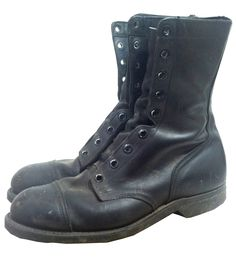 "1960s black leather mens combat boots with steel toes, 18 holes. Marked size 8 1/2W. General wear, no laces. Quite heavy. 10"" tall, 3 7/8"" wide, 1 1/4"" heel"