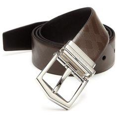 Burberry Reversible Leather Belt ($495) via Polyvore featuring men's fashion, men's accessories, men's belts, apparel & accessories, chocolate, mens belts, mens wide belts, mens leather belts and men's reversible belt