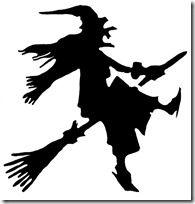 Silueta de bruja volando.