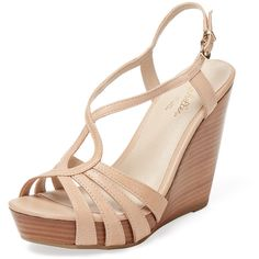 Seychelles Seychelles Women's Brunette Wedge Sandal - Cream/Tan - Size... (4,745 INR) ❤ liked on Polyvore featuring shoes, sandals, tan platform sandals, leather wedge sandals, leather ankle strap sandals, wedge heel sandals and leather sandals