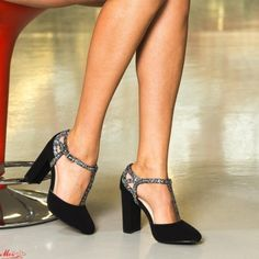 Pantofi cu Toc XKK150A Guncolor Mei Pumps, Heels, Pewter, Black, Fashion, Heel, Tin, Moda, Black People