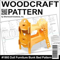 """Doll Furniture Bunk Beds DIY Woodcraft Pattern #1993 - Easy to assemble. No tools or hardware required. Just slide the pieces together for a sturdy attractive bunk bed for your dolls. 24""""H x 24""""W x 11""""D.  Pattern by Sherwood Creations  #woodworking #woodcrafts #pattern #doll  #craft #furniture"""