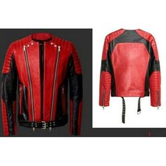 Leather Rider Handmade Men Red And Black Moto Leather Jacket 1ce46cb02b16