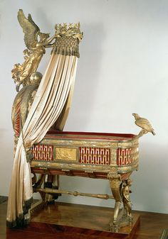 The cradle was a gift from the city of Paris to Napoleon and his second wife, Marie-Louise, on the occasion of the birth of their son, Napoléon-François-Ch. Victorian Furniture, Antique Furniture, Kunsthistorisches Museum Wien, Cradle Bedding, Baby Furniture, Napoleon, Art Google, Decoration, Rome
