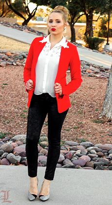 red-blazer-white-lace-blouse-black-leather-jeans