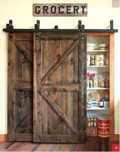 A house just isn't a home without a barn door or two. There's something … - DIY Projects - A house just isn't a home without a barn door or two. There's something … A house just isn't a home without a barn door or two. Trendy Home Decor, Cheap Home Decor, Design Case, Wooden Doors, Wooden Windows, Large Windows, Kitchen Styling, Dream Houses, Organizing Ideas