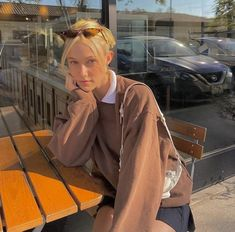 a brown crew neck over a white collared shirt with a black miniskirt, cat eye sunglasses, and a vintage shoulder bag Brandy Melville Outfits, Preppy Outfits, Summer Outfits, Grunge Outfits, Skater Style, Instagram Pose, Strike A Pose, Summer Vibes, Streetwear