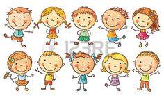 Diez ni os felices de dibujos animados de colores en una imitaci n de estilo de…