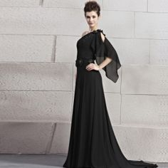 Elegant A Line One Shoulder Empire Beading Black Chiffon Evening Dress