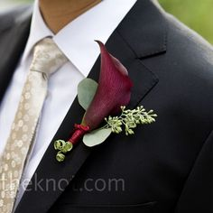 Purple Boutonniere    A plum-colored calla lily matched the shade of the flowers in Adrianne's bouquet. Seeded eucalyptus also decorated Eugene's lapel.