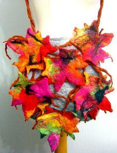 felted  bag or  purse FELTED -100% WOOL MERINO-leafs- £29.99