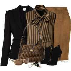 Topped Off with a Bow by stylesbyjoey on Polyvore featuring Fendi, Armani Collezioni, Ralph Lauren, Giuseppe Zanotti, stripes, blazers, bowtops, blackandbronze and suedeskirts