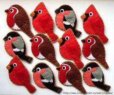 Птицы из фетра