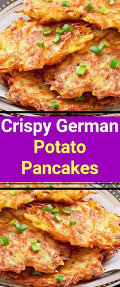 Crispy German Potato Pancakes WHAT YOU NEED (Ingredients) 2 egg 2 tbsp all-purpo.Crispy German Potato Pancakes WHAT YOU NEED (Ingredients) 2 egg 2 tbsp all-purpose flour tsp baking powder tsp salt tsp black pepper 6 medium potato German Potato Pancakes, Pancakes Easy, Recipe For Potato Pancakes, Latkes Recipe Easy, Polish Potato Pancakes, Pancake Muffins, Brunch Appetizers, Potato Appetizers, Veggie Recipes